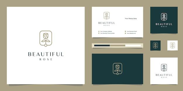 Elegante fiore rosa bellezza, yoga e spa. logo design e biglietto da visita Vettore Premium