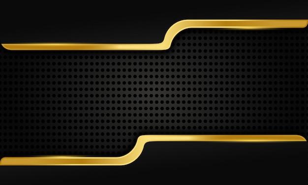 Elegante forma dorata su sfondo scuro Vettore Premium