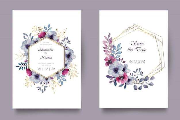Elegante invito a nozze ad acquerello Vettore Premium