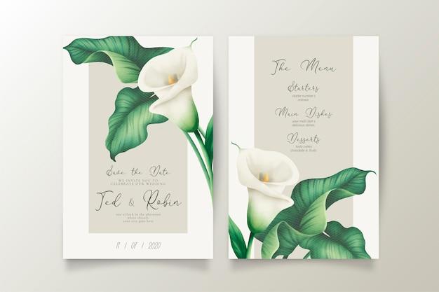 Elegante invito a nozze e menu con gigli bianchi Vettore gratuito