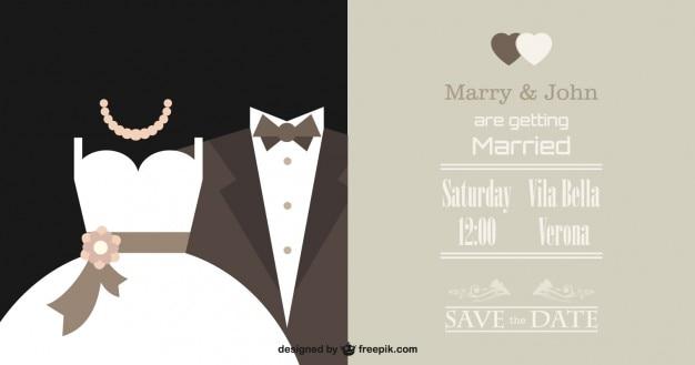 Elegante invito a nozze vettore Vettore gratuito