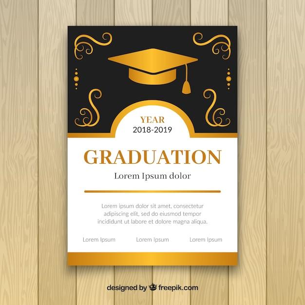 Elegante invito a una festa di laurea d'oro Vettore gratuito