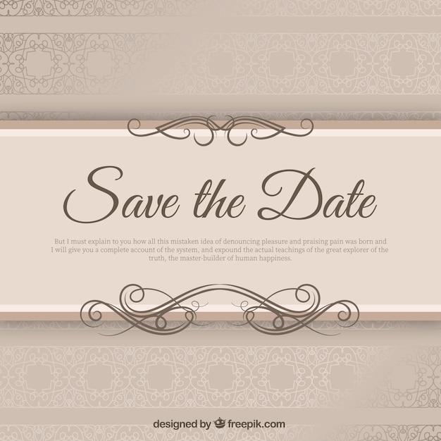 Elegante invito di nozze con Ribbond Vettore gratuito