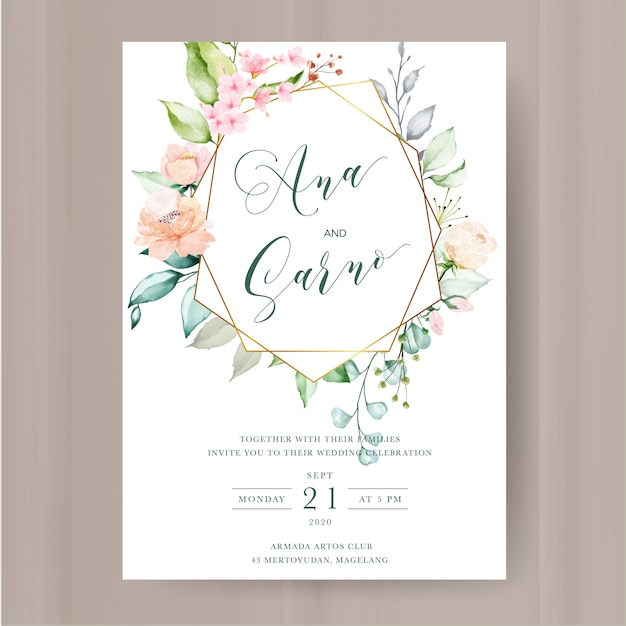 Elegante invito floreale con cornice di fiori ad acquerelli Vettore Premium