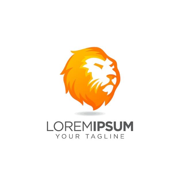 Elegante logo con testa di leone Vettore Premium