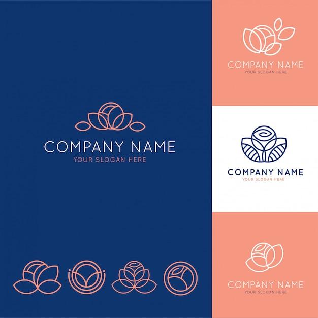 Elegante logo per affari floreali blu e rosa Vettore Premium