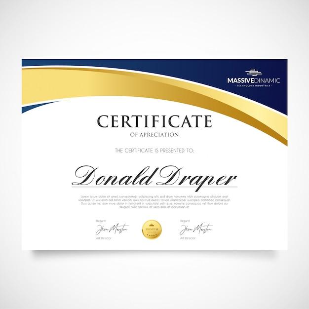 Elegante modello di certificato di apprezzamento Vettore gratuito