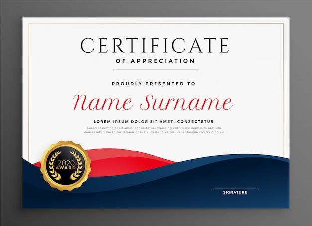 Elegante modello di certificato diploma blu e rosso Vettore gratuito