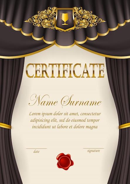 Elegante modello di certificato, diploma Vettore Premium
