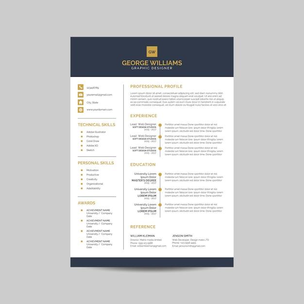 Elegante modello di curriculum Vettore Premium