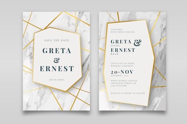 Elegante modello di invito a nozze in marmo con dettagli dorati Vettore gratuito