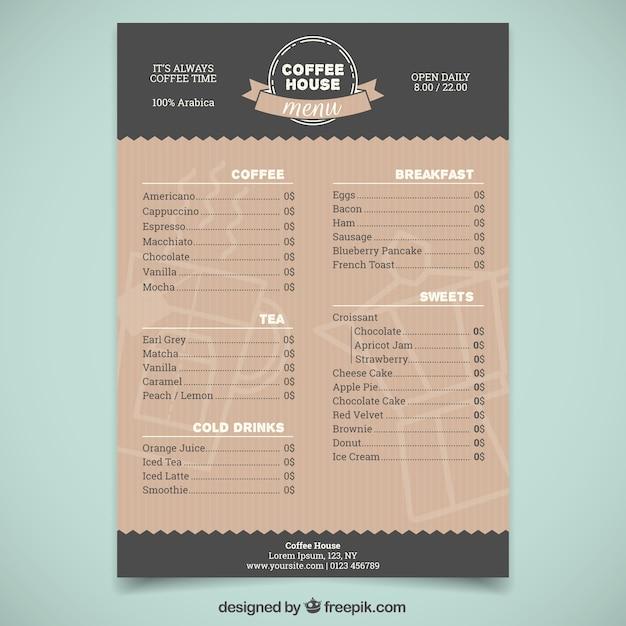 Elegante modello di menu caffetteria Vettore gratuito