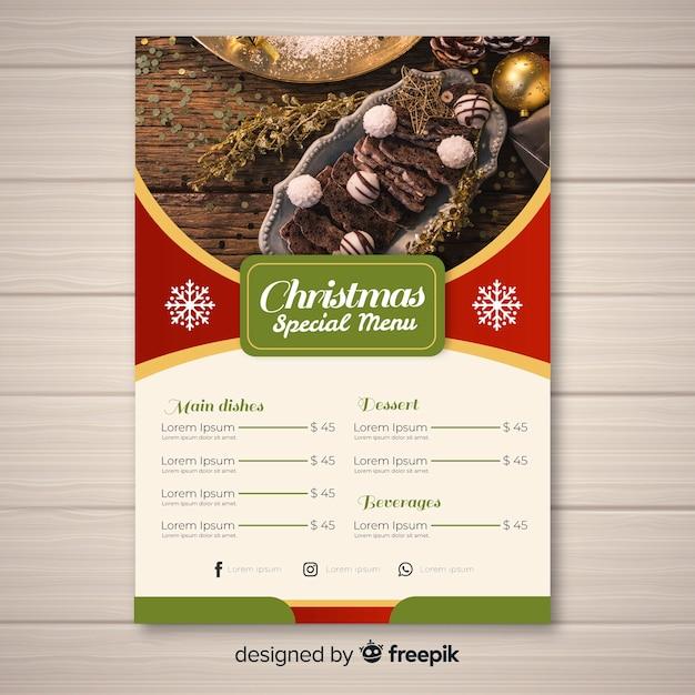 Elegante modello di menu di natale con foto Vettore gratuito