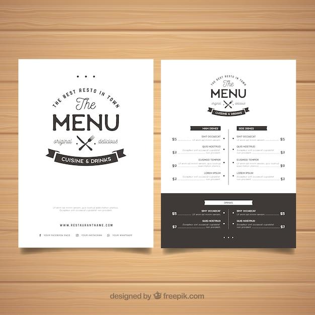 Elegante modello di menu in bianco e nero Vettore gratuito
