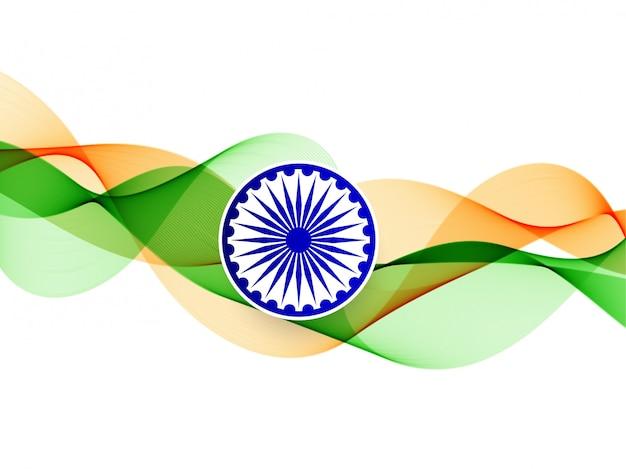 Elegante ondulato bandiera indiana sullo sfondo Vettore gratuito