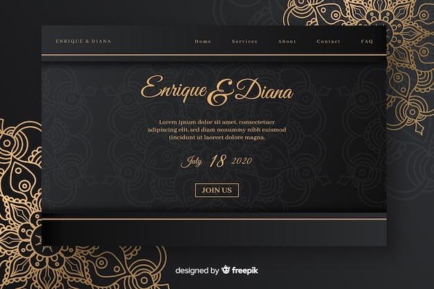Elegante pagina di destinazione per matrimoni Vettore gratuito
