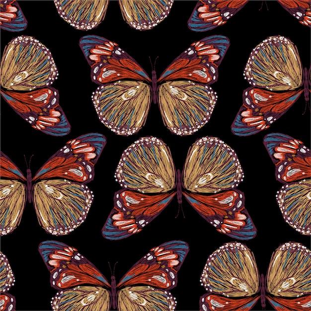 Elegante ricamo di farfalle colorate senza cuciture nelle illustrazioni, Vettore Premium