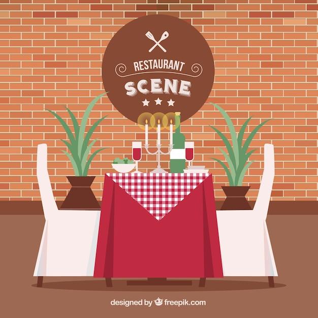 Elegante ristorante scena di sfondo Vettore gratuito