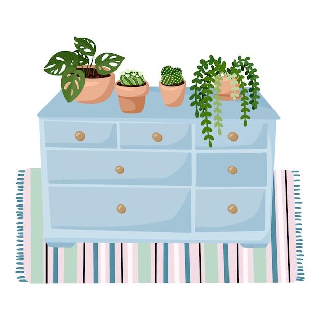 Elegante salotto scandinavo interno - guardaroba con piante succulente su un tappeto. decorazioni per la casa Vettore Premium