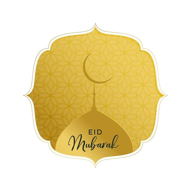Elegante saluto dorato eid mubarak con la cima della moschea Vettore gratuito