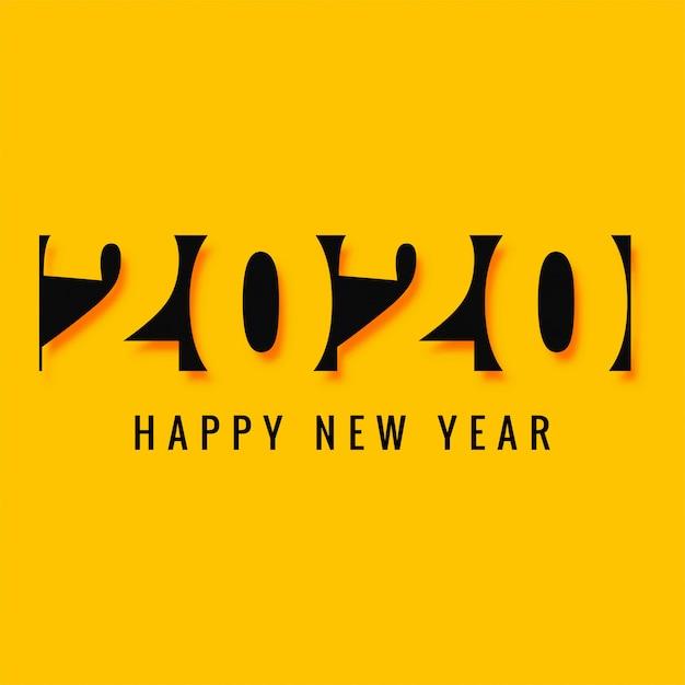 Elegante scheda di testo creativo per il nuovo anno 2020 Vettore gratuito