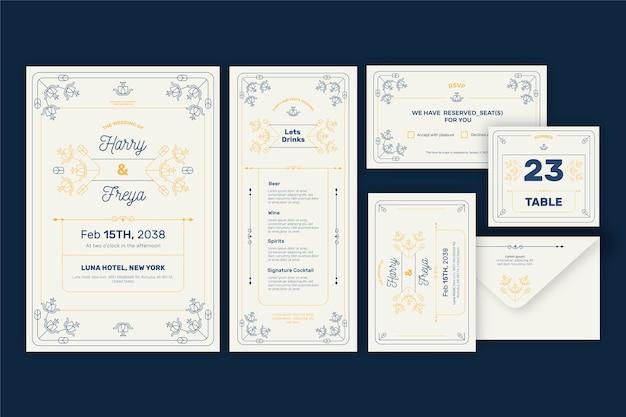 Elegante set di cancelleria per matrimoni Vettore gratuito