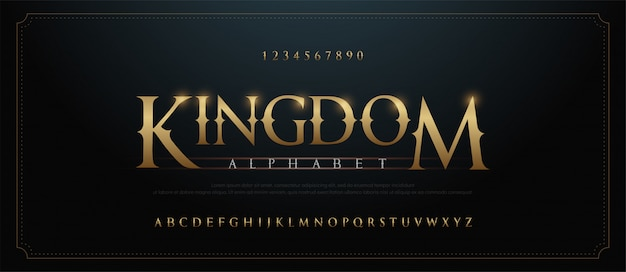 Elegante set di caratteri lettere alfabeto dorato. oro personalizzato classico Vettore Premium