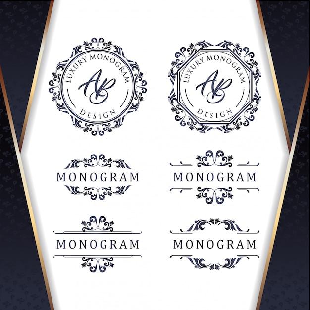 Elegante set di disegni ornamento d'oro con lussuoso sfondo blu scuro Vettore Premium