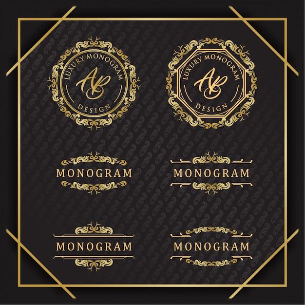 Elegante set di disegni ornamento d'oro con sfondo nero lussuoso Vettore Premium