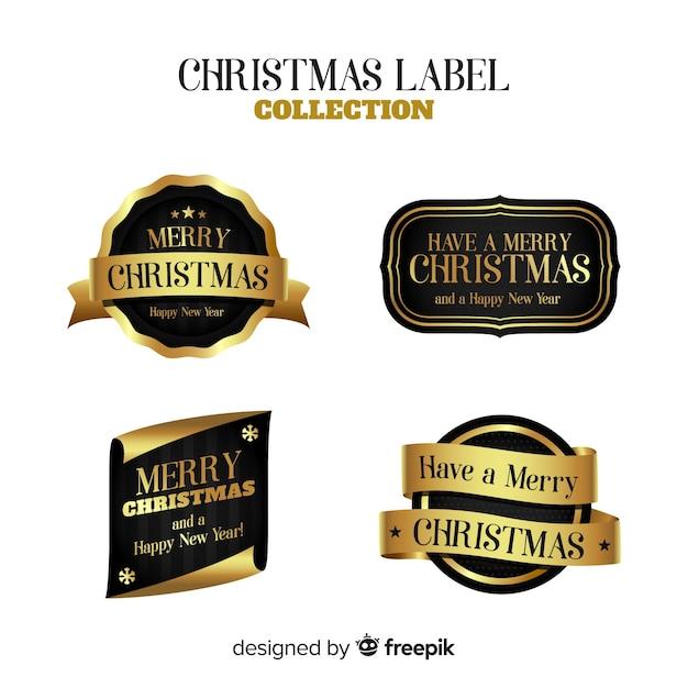 Elegante set di etichette d'oro di natale Vettore gratuito