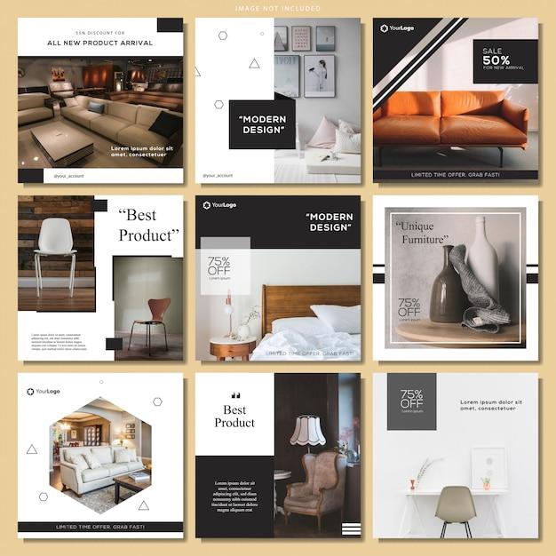 Elegante set di modelli di post sui social media Vettore Premium