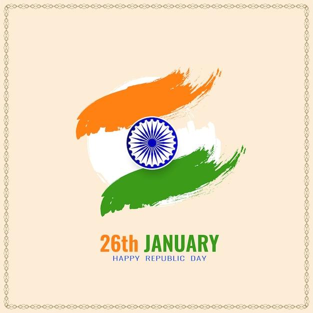 Elegante sfondo bandiera indiana per la celebrazione della festa della repubblica Vettore gratuito