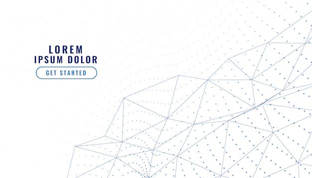 Elegante sfondo bianco basso poli linee connessione Vettore gratuito