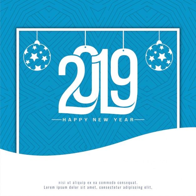 Elegante sfondo blu decorativo capodanno 2019 Vettore gratuito