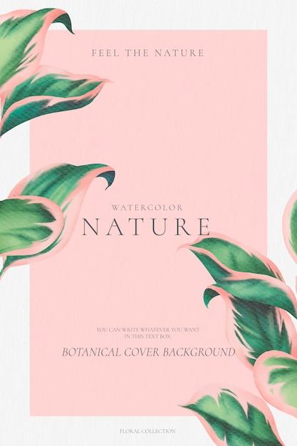 Elegante sfondo botanico con foglie rosa e verde Vettore gratuito