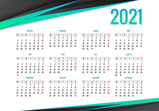 Elegante sfondo creativo del calendario 2021 | Vettore Gratis