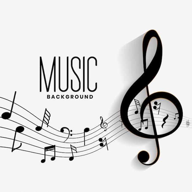 Elegante sfondo di note musicali musica Vettore gratuito