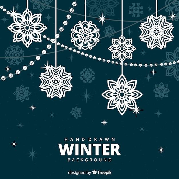 Elegante sfondo invernale con fiocchi di neve Vettore gratuito