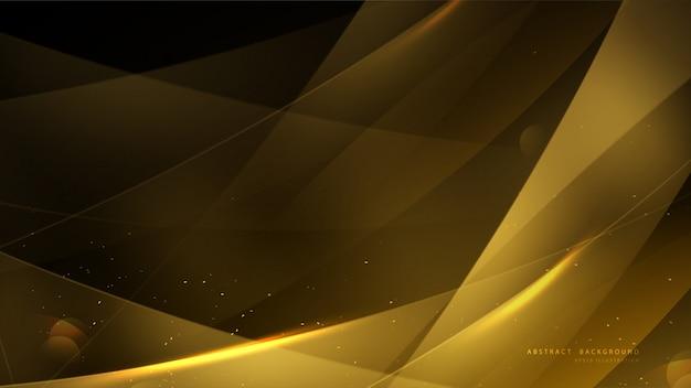 Elegante sfondo oro con bokeh e luce splendente. Vettore Premium