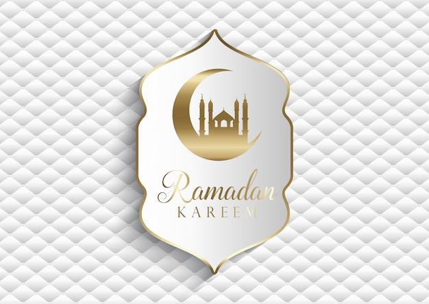 Elegante sfondo per ramadan kareem in bianco e oro Vettore gratuito