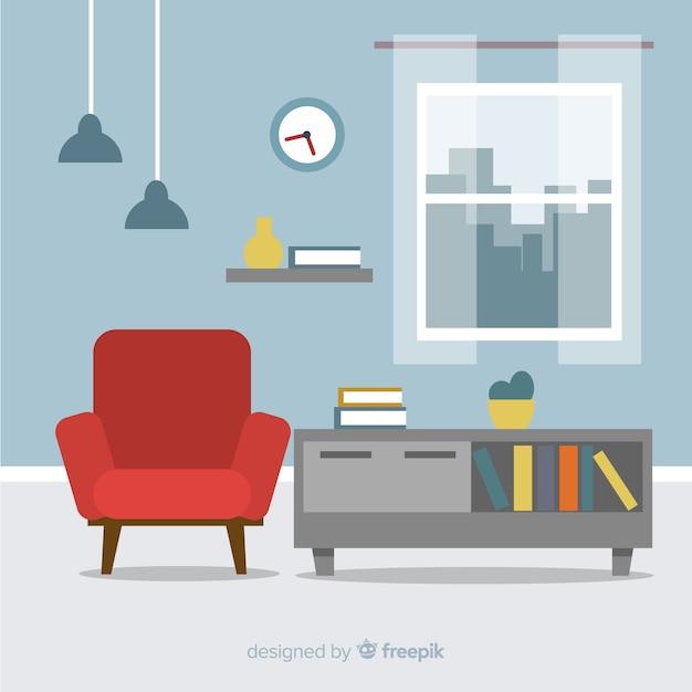 Elegante soggiorno interno con design piatto Vettore gratuito