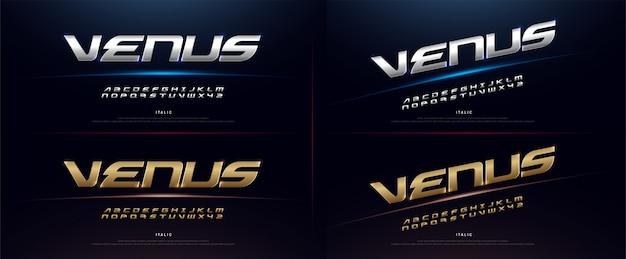 Elegante sport silver e golden alphabet font Vettore Premium