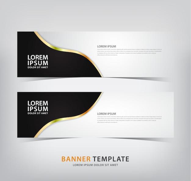Elegante striscione con motivi neri e linee dorate Vettore Premium