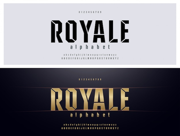 Elegante tipografia alfabeto metallo dorato set di caratteri Vettore Premium
