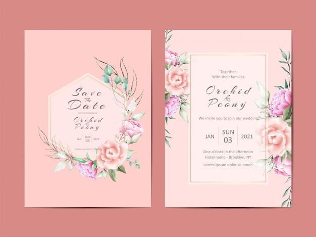 Eleganti carte invito a nozze di peonie e rose Vettore Premium