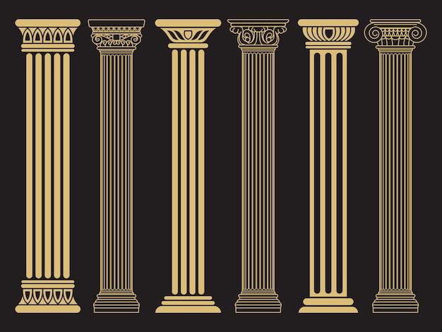 Eleganti colonne classiche romane, linee architettoniche greche e silhouette Vettore Premium