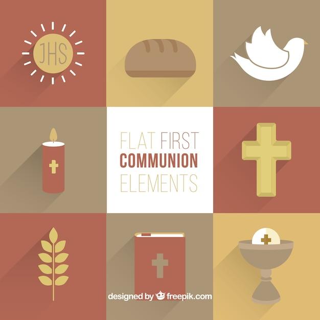 Eleganti elementi religiosi nel design piatto Vettore gratuito