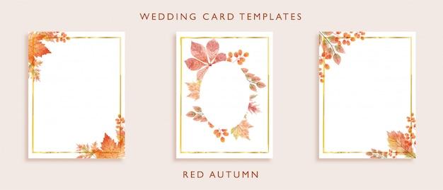 Eleganti modelli di carte di nozze Vettore Premium