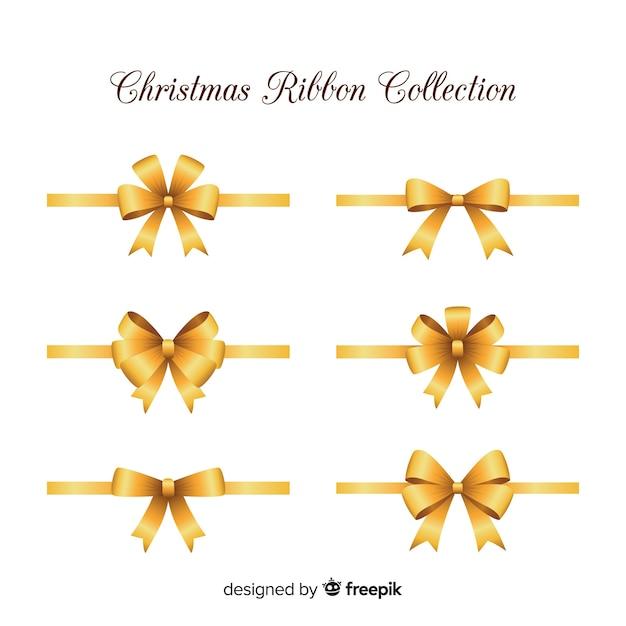 Eleganti nastri natalizi dal design realistico Vettore gratuito