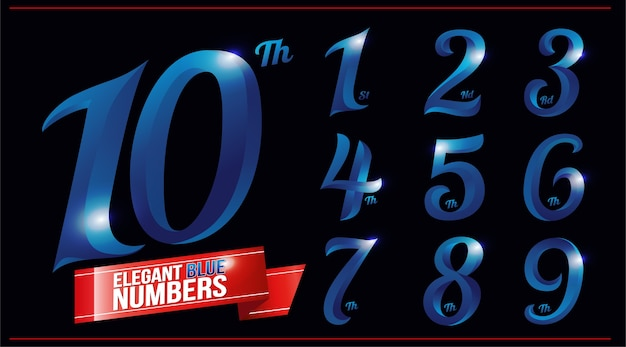 Eleganti numeri cromati in metallo colorato blu. 1, 2, 3, 4, 5, 6, 7, 8, 9, 10, logo Vettore Premium